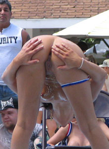 Girl On Girl Stripper Action On The Outdoor Stage At The Public Nudity Party - Picture 7