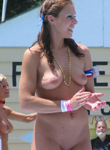 Girl With Huge Tits Is Completely Naked On The Outdoor Stage Stripper Contest - Picture 7