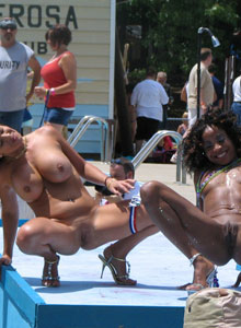 Girl With Huge Tits Is Completely Naked On The Outdoor Stage Stripper Contest - Picture 10