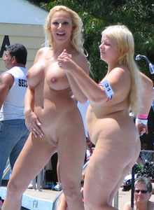 Girl With Huge Tits Is Completely Naked On The Outdoor Stage Stripper Contest - Picture 12